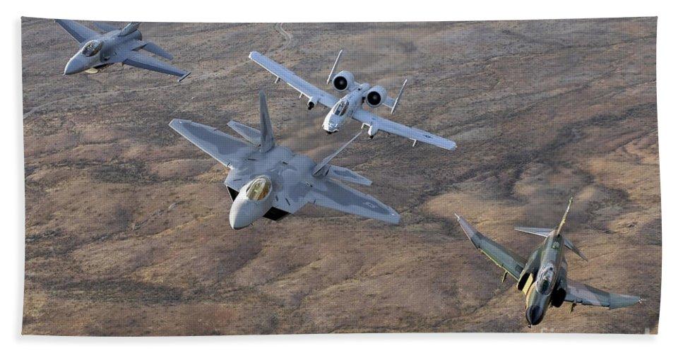 Horizontal Beach Towel featuring the photograph An F-22a Raptor, An F-4 Phantom, An by Stocktrek Images