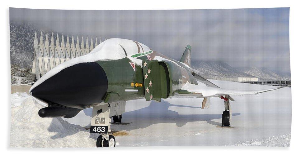 F-4 Phantom Beach Towel featuring the photograph An F-4d Phantom II Aircraft Static by Stocktrek Images