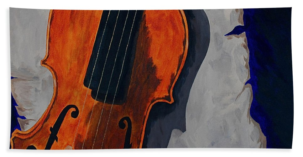 Violin Music Old Song Beach Towel featuring the painting An Old Song by Herschel Fall