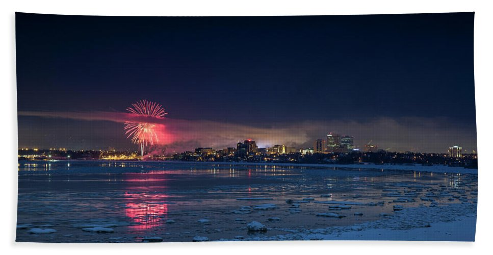 Fireworks Beach Towel featuring the photograph Anchorage Fireworks by Matt Skinner