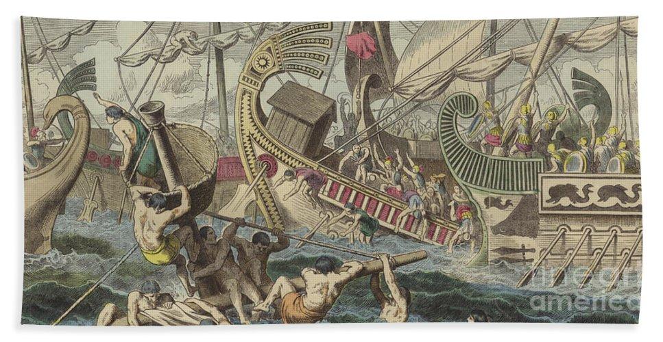 Ancient Greek Sea Battle Beach Towel featuring the painting Ancient Greek Sea Battle by German School