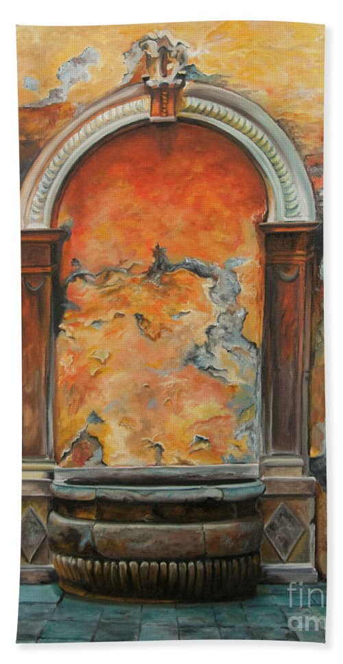 Fountain Painting Beach Towel featuring the painting Ancient Italian Fountain by Charlotte Blanchard