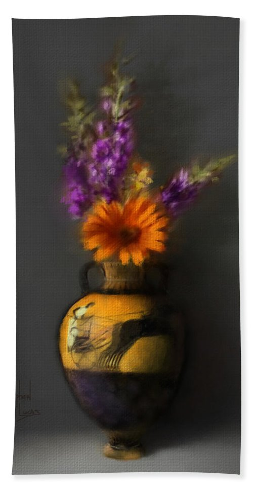 Vase Beach Sheet featuring the digital art Ancient Vase And Flowers by Stephen Lucas