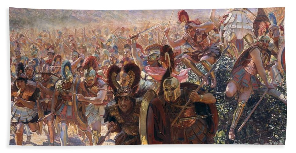 Ancient Warriors (oil On Canvas) By Georges Marie Rochegrosse (1859-1938) Beach Towel featuring the painting Ancient Warriors by Georges Marie Rochegrosse