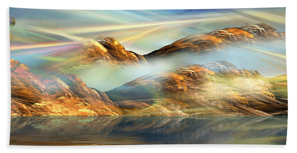 Phil Sadler Beach Towel featuring the digital art And The Light Shines On And On And On... by Phil Sadler