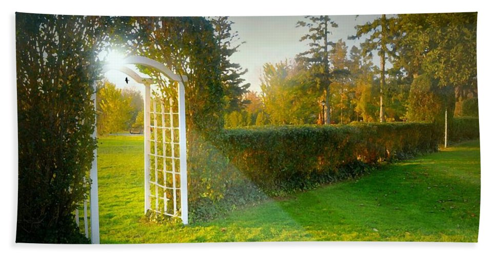 Landscape Beach Towel featuring the photograph And The Trellis by Diana Angstadt