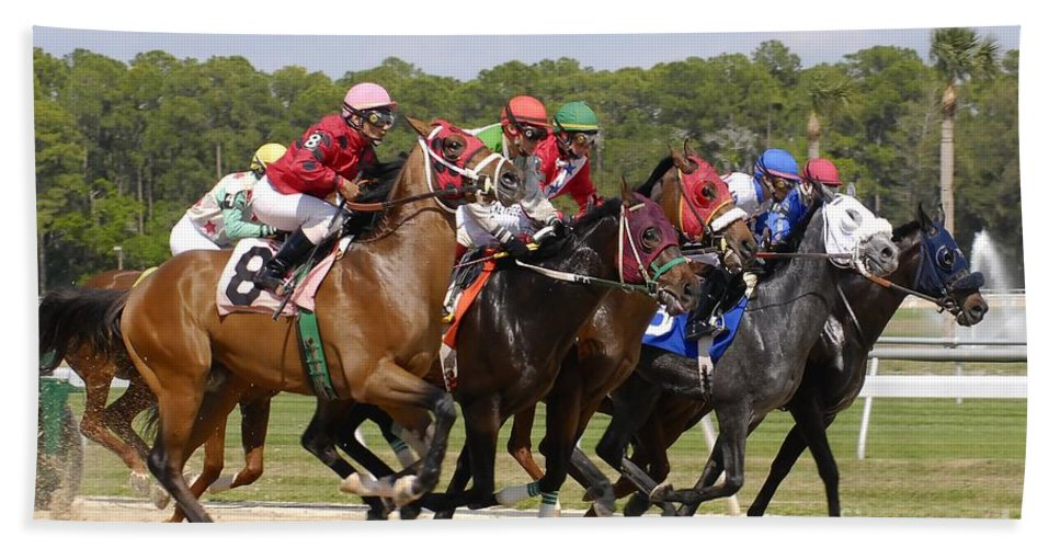 Horse Racing Beach Sheet featuring the photograph And Their Off by David Lee Thompson