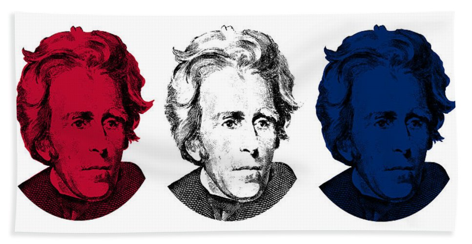 President Jackson Beach Towel featuring the digital art Andrew Jackson Red White And Blue by War Is Hell Store