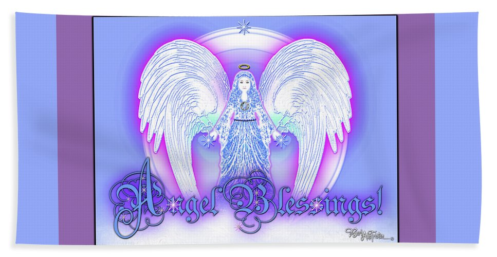 Inspiration Beach Towel featuring the digital art Angel Blessings #196 by Barbara Tristan