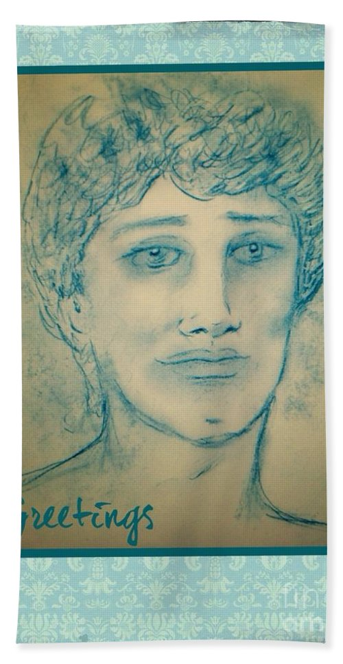 Angel Cards Beach Towel featuring the drawing Angel Greetings by Joan-Violet Stretch