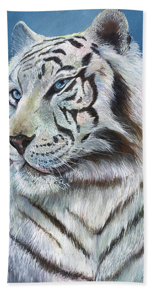 Big Cat Beach Towel featuring the painting Angel The White Tiger by Sherry Shipley