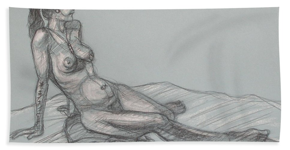 Realism Beach Towel featuring the drawing Angela Reclining 4 by Donelli DiMaria