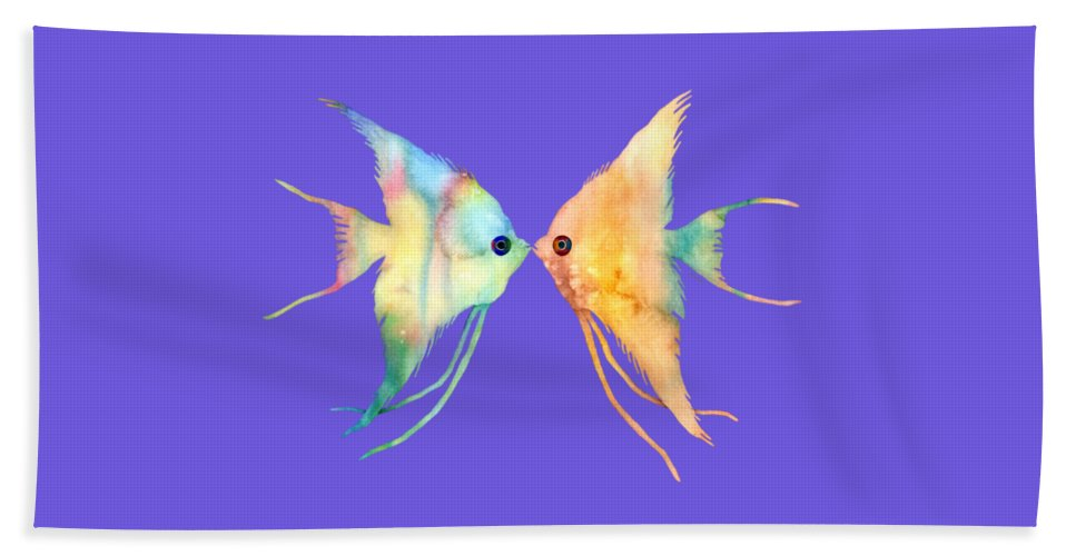Fish Beach Towel featuring the painting Angelfish Kissing by Hailey E Herrera