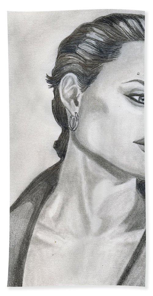 Pencil Beach Towel featuring the drawing Angelina Jolie by Alban Dizdari