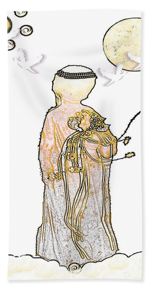 Angel Beach Towel featuring the mixed media Angelita Blanco by Pepita Selles