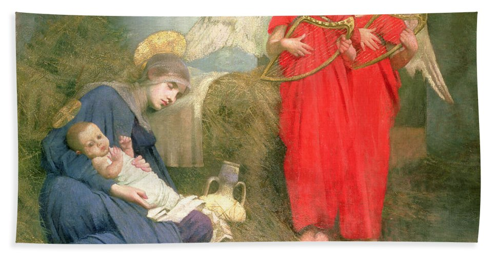 Stable; Lyre; Musical Instrument; Sleeping; Straw Beach Towel featuring the painting Angels Entertaining the Holy Child by Marianne Stokes
