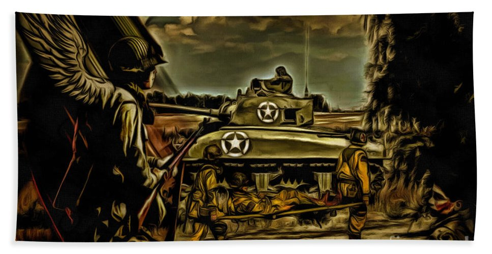 Soldier Beach Towel featuring the digital art Angels On The Battlefield - Oil by Tommy Anderson