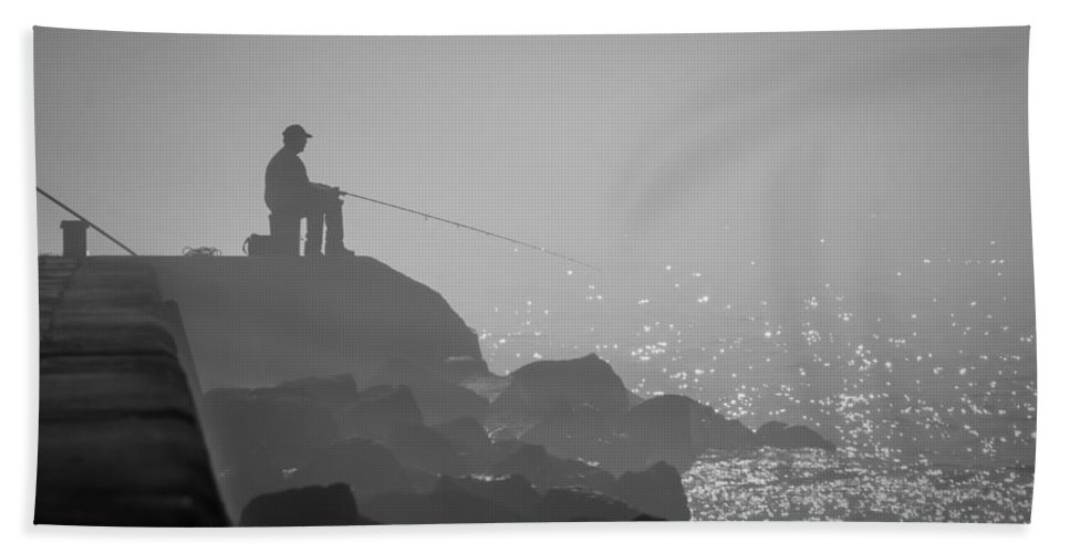 Algoma Beach Towel featuring the photograph Angling In A Fog by Bill Pevlor