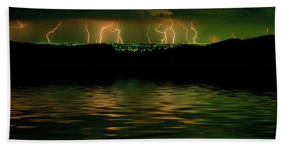 Lightning Beach Towel featuring the photograph Angry Clouds by Jerry McElroy