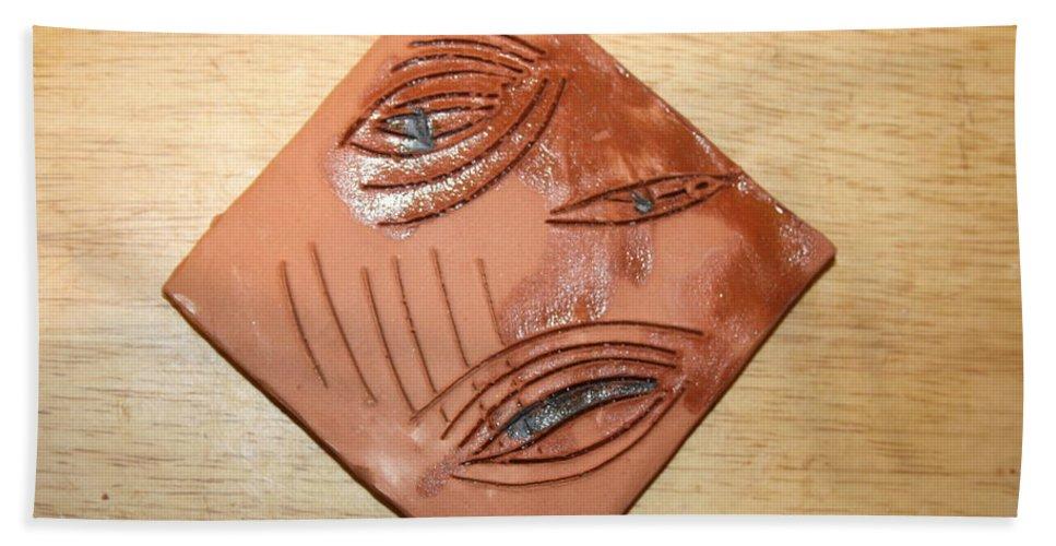 Jesus Beach Towel featuring the ceramic art Anguish - Tile by Gloria Ssali
