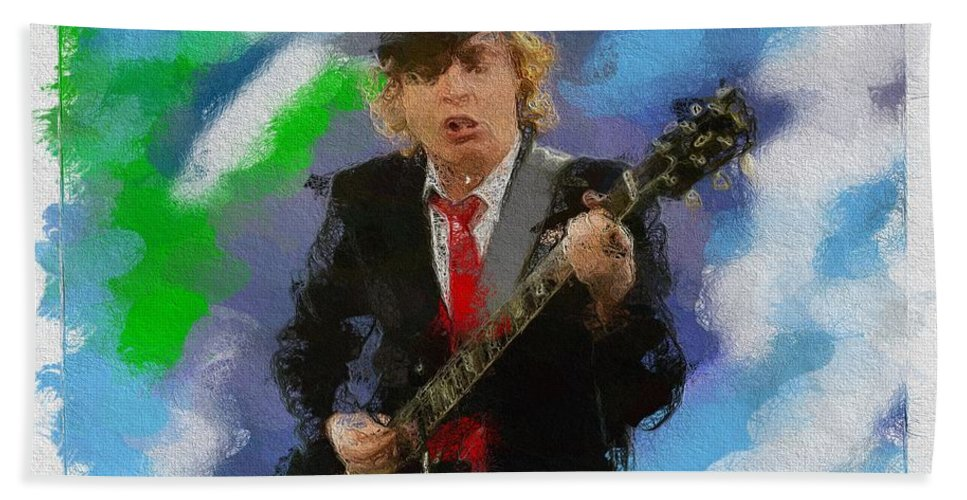 Angus Beach Towel featuring the painting Angus Young by Art Dreams