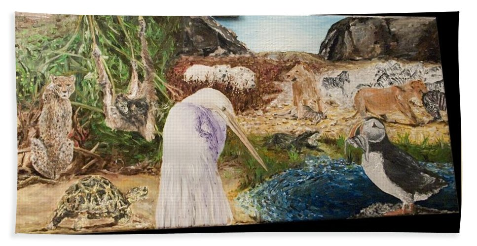 Landscape Beach Towel featuring the painting Animals Circle by Pablo de Choros
