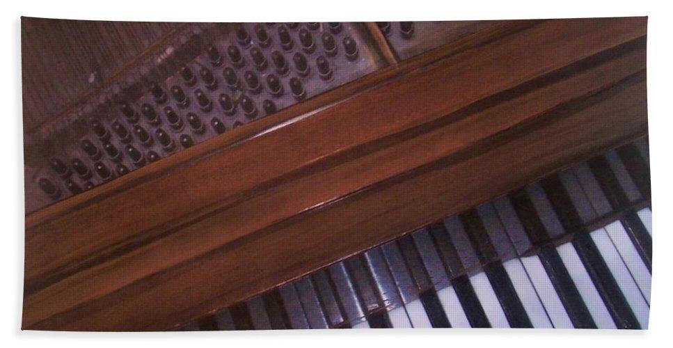 Piano Beach Towel featuring the mixed media Anita's Piano 1 by Anita Burgermeister