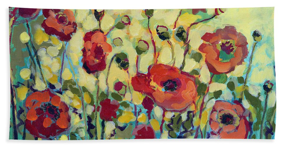 Poppy Beach Towel featuring the painting Anitas Poppies by Jennifer Lommers