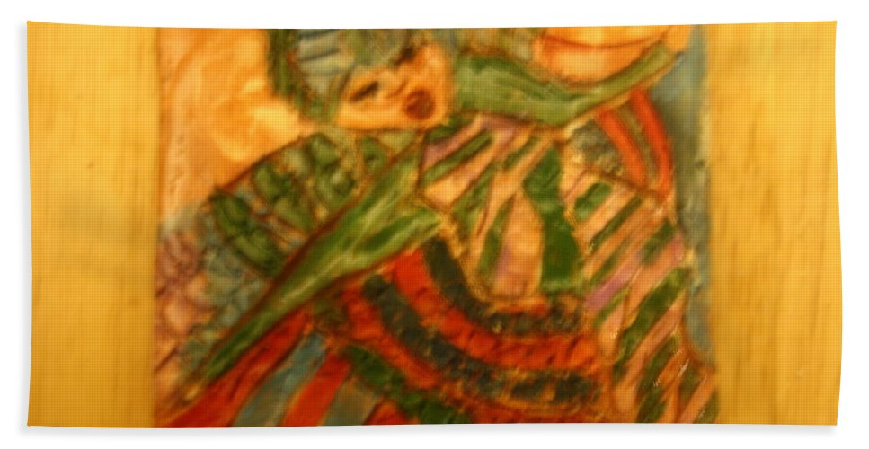 Jesus Beach Towel featuring the ceramic art Anne - Tile by Gloria Ssali