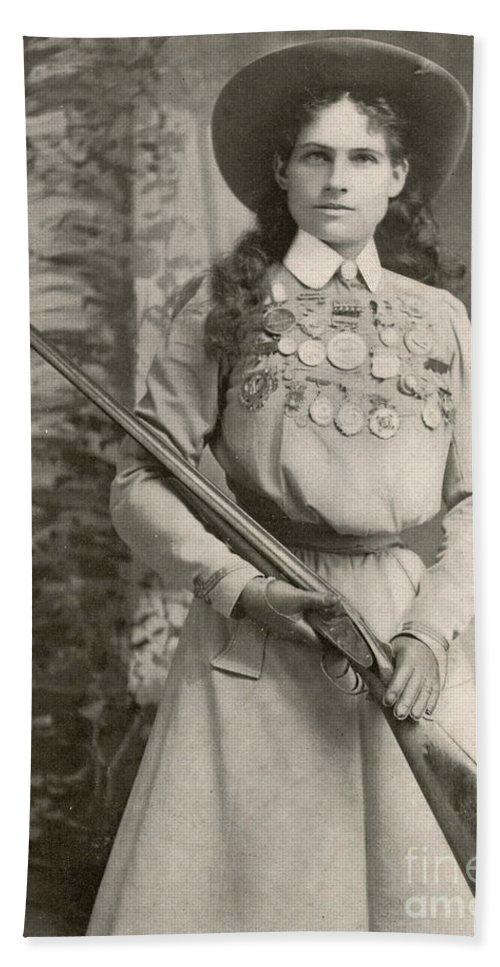 Annie Oakley Beach Towel featuring the photograph Annie Oakley With A Rifle, 1899 by Richard Kyle Fox