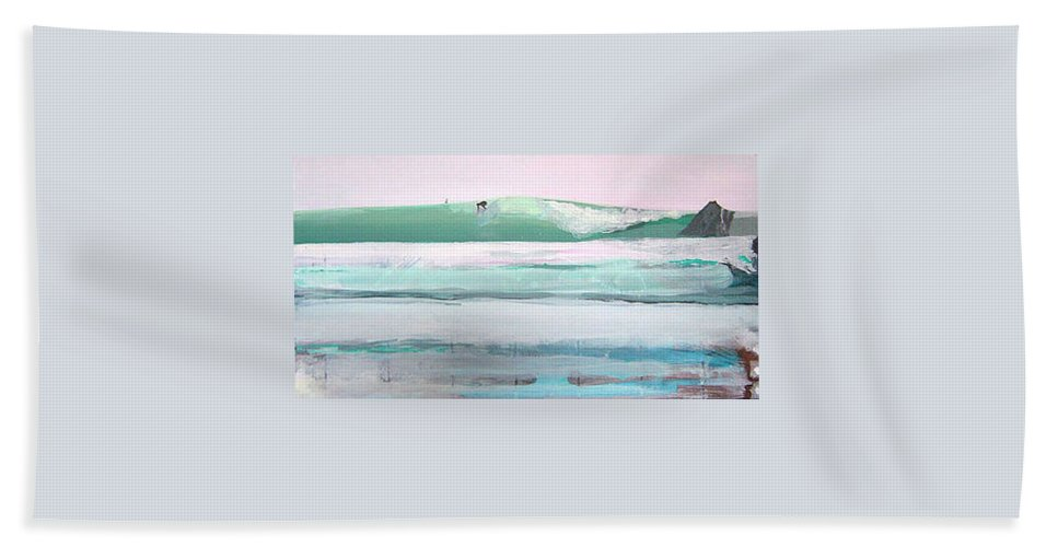 Surf Beach Towel featuring the painting Ano Nuevo by Peter Forbes