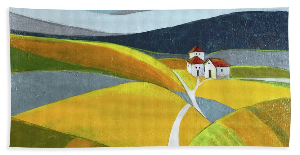 Landscape Beach Towel featuring the painting Another Day On The Farm by Aniko Hencz
