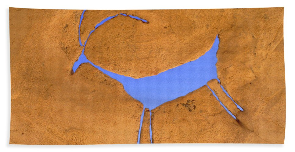 Anasazi Beach Towel featuring the photograph Antelope Petroglyph by Jerry McElroy