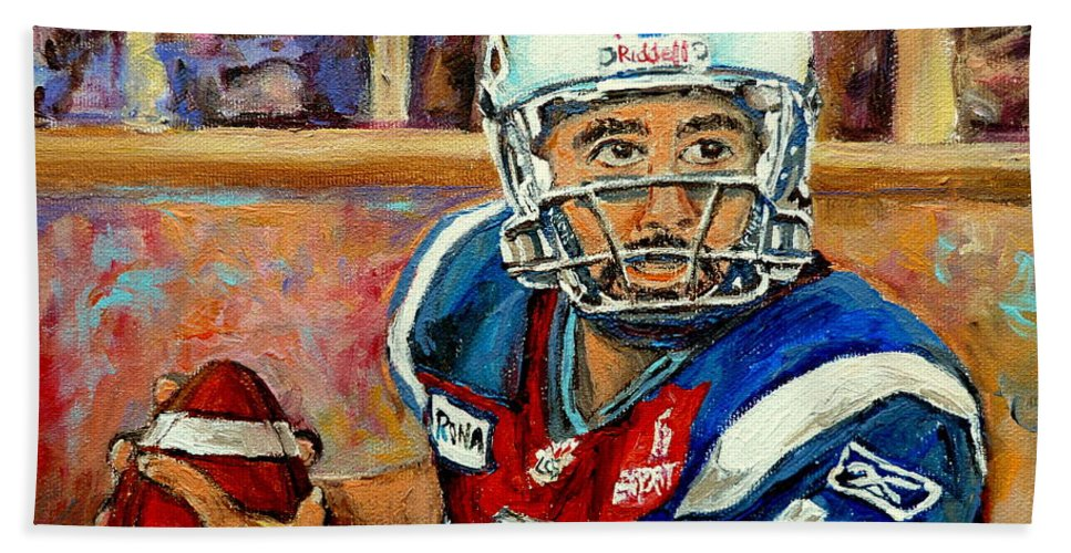 Anthony Calvillo Beach Towel featuring the painting Anthony Calvillo by Carole Spandau