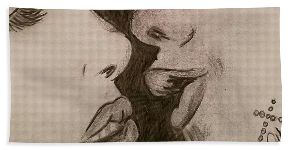 Kiss Beach Towel featuring the drawing Anticipation Of A Kiss by Ginette Kenyon