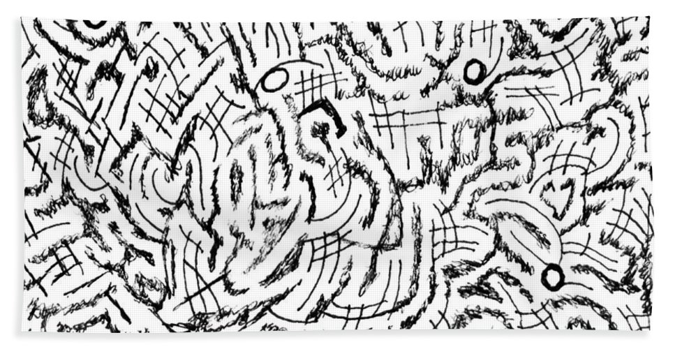 Mazes Beach Towel featuring the drawing Anticipative by Steven Natanson