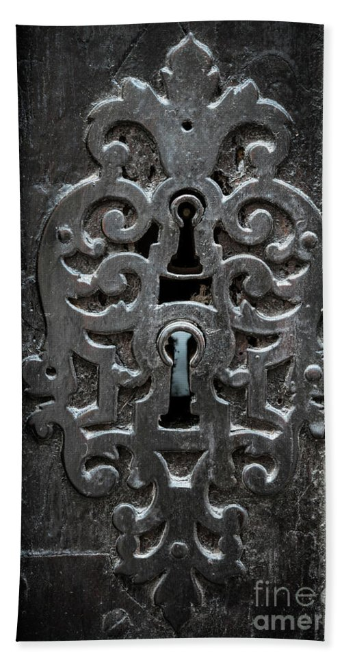 Keyhole Beach Towel featuring the photograph Antique Door Lock by Elena Elisseeva