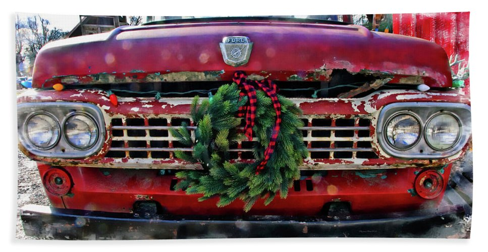 Photography By Suzanne Stout Beach Towel featuring the photograph Antique Ford Christmas by Suzanne Stout