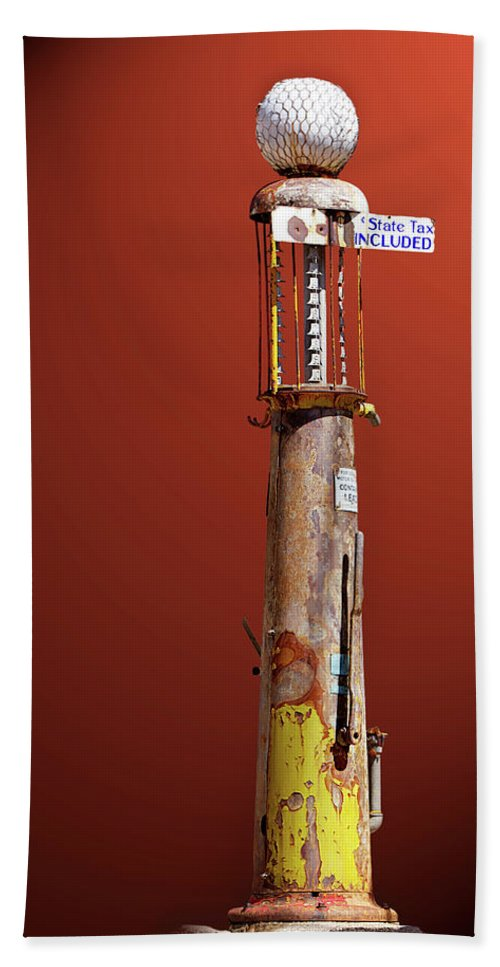 Gas Beach Towel featuring the photograph Antique Gas Pump by Phyllis Denton