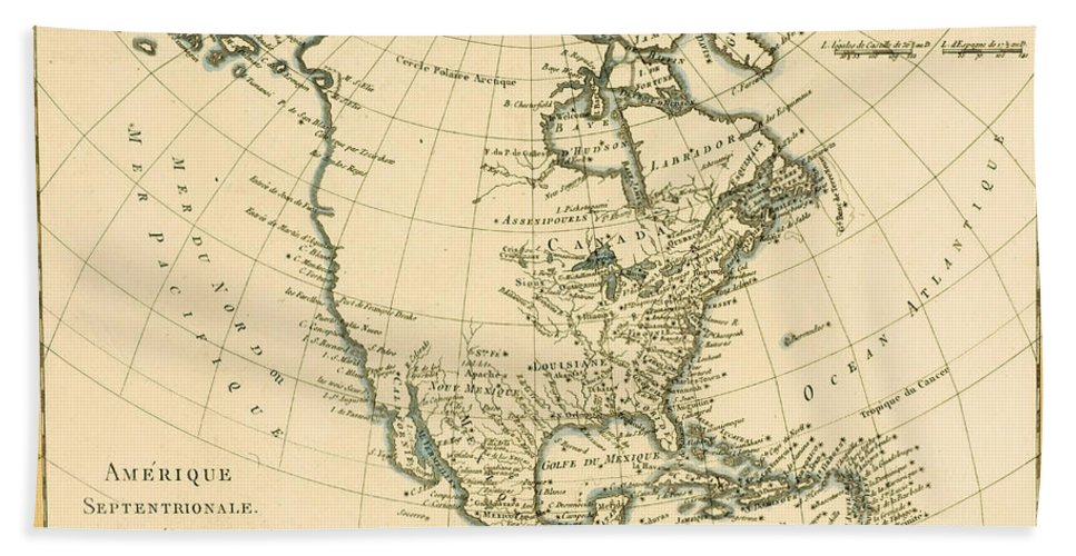 Antique Map Of North America.Antique Map Of North America Beach Towel For Sale By Guillaume Raynal