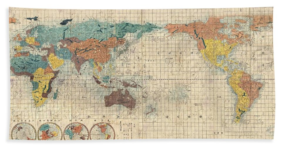 Antique maps old cartographic maps antique japanese map of the antique map of the world beach towel featuring the drawing antique maps old cartographic maps gumiabroncs Images