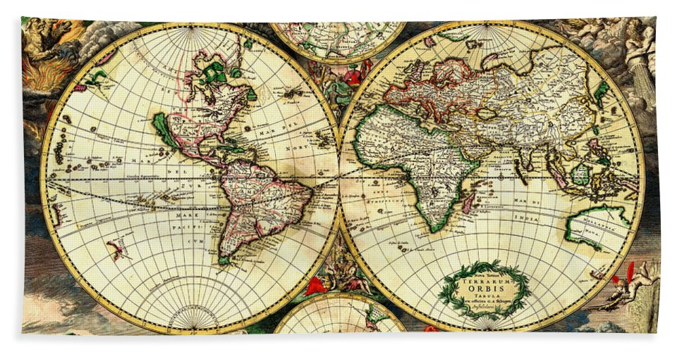 Antique World Map 1689 Vintage Travel Artwork Beach Towel For Sale