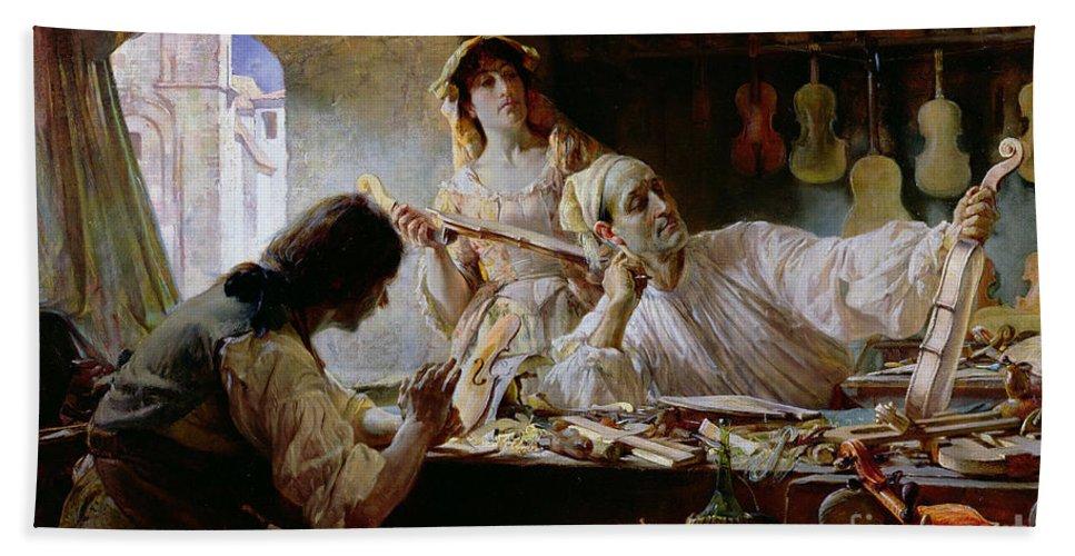 Antonio Stradivari Beach Towel featuring the painting Antonio Stradivari by Edgar Bundy