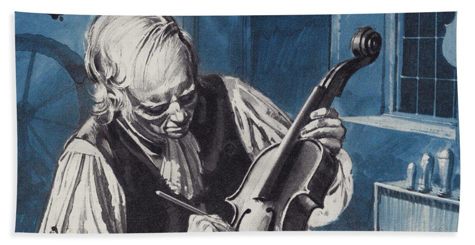 Antonio Stradivari Beach Towel featuring the painting Antonio Stradivari by English School