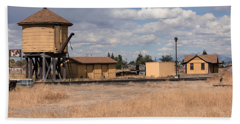 Antonito Beach Towel featuring the photograph Antonito Colorado Tank And Station by JG Thompson