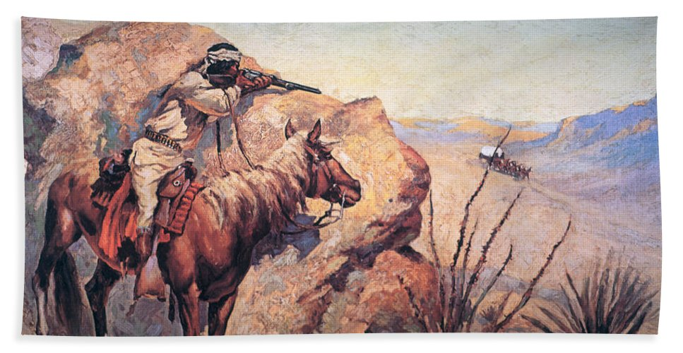 Apache Ambush (oil On Canvas) By Frederic Remington (1861-1909) Remington Beach Towel featuring the painting Apache Ambush by Frederic Remington