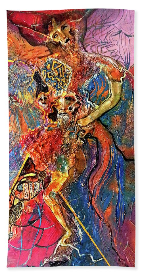 Cosmogony Beach Towel featuring the painting Apache Cosmogony by Bob Money