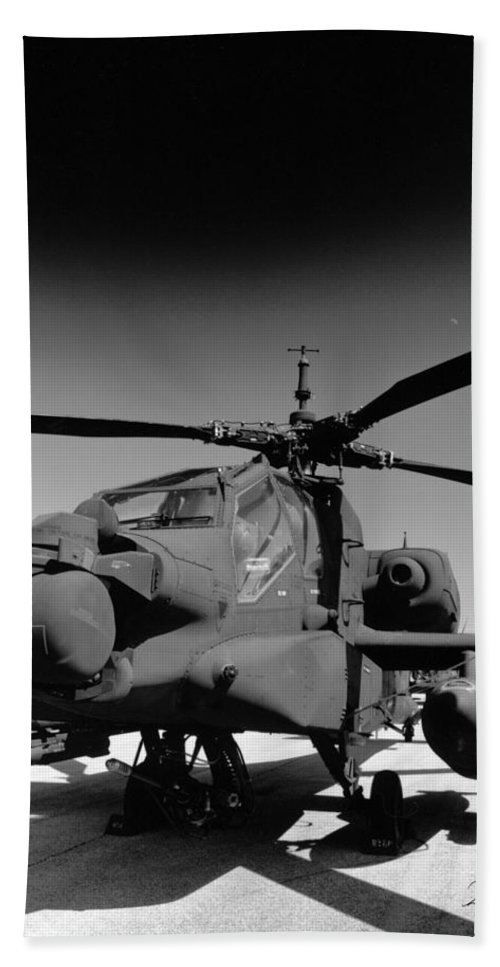 Photography Beach Towel featuring the photograph Apache Helicopter by Frederic A Reinecke