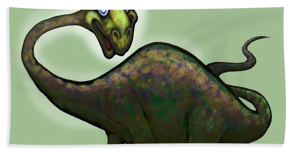 Apatosaurus Beach Towel featuring the greeting card Apatosaurus Brontosaurus by Kevin Middleton