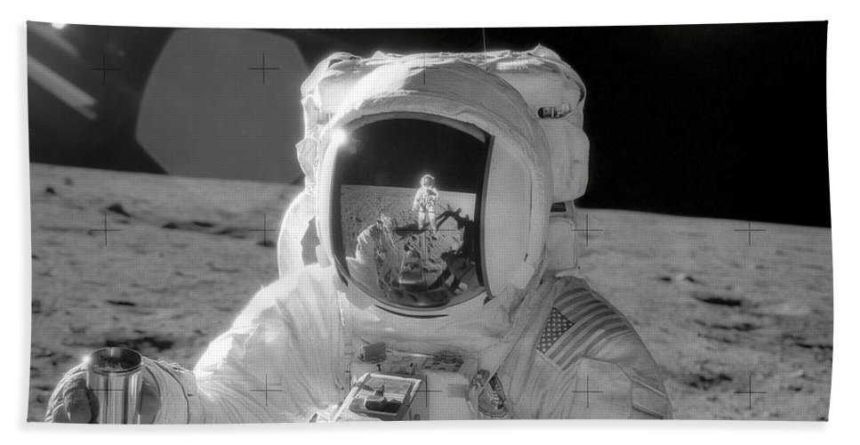 Square Image Beach Towel featuring the photograph Apollo 12 Moonwalk by Stocktrek Images